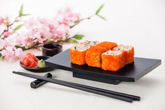 California Maki Sushi. With soy sauce and ginger stock image