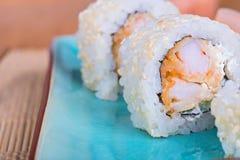 California maki sushi with tempura shrimp Stock Image