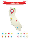 California Map. Showing capital , whit gps pin icons royalty free illustration