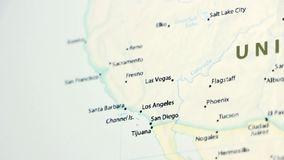 California on a Map with Defocus. California on a political map of the world. Video defocuses showing and hiding the map stock footage