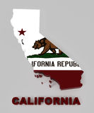 California, map with flag, with clipping path. California, map with flag, isolated on gray with clipping path, 3d illustration Royalty Free Stock Image