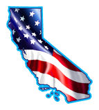 California map with Flag Illustration Royalty Free Stock Photo