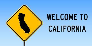 California map on road sign. Wide poster with California us state map on yellow rhomb road sign. Vector illustration vector illustration