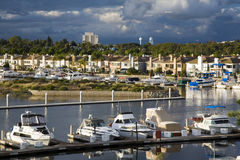 California marina and luxury homes. Stock Photos