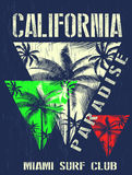 California miami summer t shirt graphic design. Fashion style Stock Image