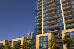 California modern condominiums and retail building royalty free stock image