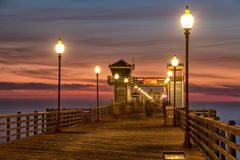 California Oceanside pier at sunset Royalty Free Stock Images
