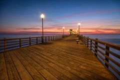 California Oceanside pier at sunset Royalty Free Stock Photo