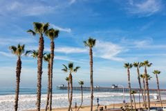 California Oceanside pier with palm trees view. California Oceanside pier over the ocean with palm trees and beach, travel destination Royalty Free Stock Photography