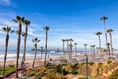 California Oceanside pier with palm trees view. California Oceanside pier over the ocean with palm trees and beach, travel destination Stock Images