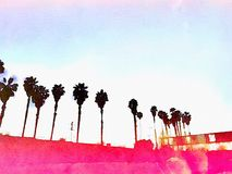 California Palm trees Los Angeles pink graphic watercolor background. Highway Stock Images