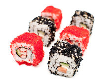 California and Philadelphia rolls. On white Royalty Free Stock Photo