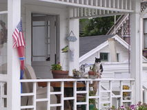 California Porch. With cat and flag royalty free stock images