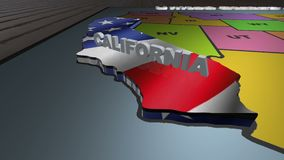 California pull out from USA states abbreviations map. State California pull out from USA map with american flag on background. A map of the US showing the two stock video footage