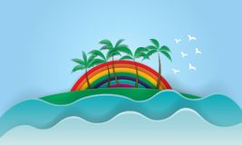 California Rainbow Wonderful Sunset Slogan summer surf and Palm. Beach paper art vector Stock Photo