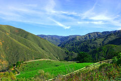 California ranch. Typical California landscape with green grass and ranch stock images