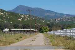 California Ranch Scene with Mt Cuyamaca. Small California ranch with Mt Cuyamaca in hte background; springtime San Diego County royalty free stock image