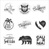 California relacionó los gráficos del estilo del vintage de la camiseta fijados Ilustración del vector Foto de archivo libre de regalías