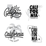 California related t-shirt vintage style graphics set. Vector illustration. Royalty Free Stock Images