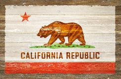 California Republic. Flag on Wooden Background. California Flag Paint on Wood Royalty Free Stock Image