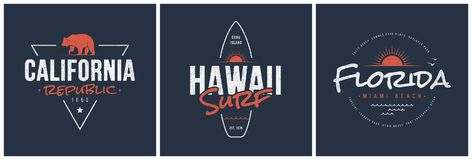 California republic, Hawaii surf and Florida designs. California republic, Hawaii surf and Florida t-shirt and apparel vector designs, typography, prints, labels vector illustration
