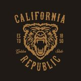 California republic t-shirt design with grizzly bear head. Vector vintage illustration. California republic t-shirt design with grizzly bear head. Hand drawn vector illustration