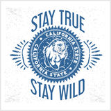 California Republic vintage typography with a grizzly Bear Royalty Free Stock Images