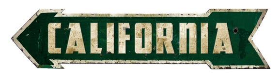 California Retro Sign Arrow. Vintage street metal tin rustic old antique arrow Oscars Academy Movies Logo Grunge desert dessert stock photography