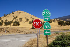 California Road Signs at Crossroad Stock Photography