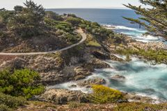 California Rocky Beac h on Highway 1 royalty free stock photo