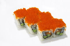 California roll. Six California rolls on a white background Royalty Free Stock Photos