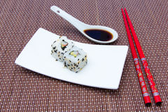 California roll with avocado and surimi on bamboo Stock Images