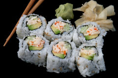 California Roll on Black Royalty Free Stock Photos