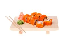 California roll. crab. Japanese cuisine. sushi on white background close-up studio photography Royalty Free Stock Photos