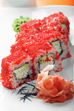 California roll with crab and tobico closeup Stock Images