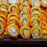 California roll maki sushi on a glass plate. Royalty Free Stock Photo