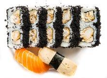 California Roll with Masago. California Maki Sushi with Masago - Roll made of Crab Meat, Avocado, Cucumber inside. Masago outside Stock Photos