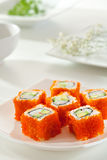 California Roll with Masago Stock Photos