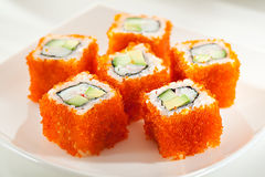 California Roll with Masago Royalty Free Stock Images