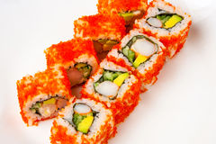 California roll with shrimp, tobiko, avocado and Japanese mayonnaise Royalty Free Stock Images
