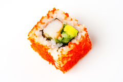 California roll with shrimp, tobiko, avocado and Japanese mayonnaise Stock Photo