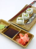 California roll sushi, asian condiments Stock Photo