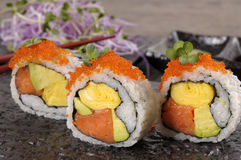 California roll sushi on black plate Stock Images