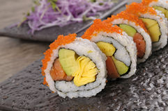 California roll sushi on black plate Royalty Free Stock Images
