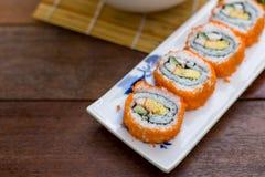 California roll sushi maki. Japanese food - Selective focus point stock image
