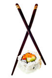 California roll vegetarian sushi with chopsticks Stock Images