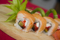 California rolls with bamboo Royalty Free Stock Images