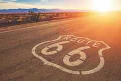 California Route 66 Mojave. California Route 66 and Mojave National Preserve Landscape. United States of America royalty free stock image