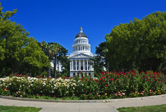 Californias splendid capitol. The California State Capitol with flowers, Sacramento Royalty Free Stock Image