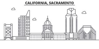 California  Sacramento architecture line skyline illustration. Linear vector cityscape with famous landmarks, city sight. S, design icons. Editable strokes Royalty Free Stock Image